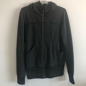 Grey Zip Up Long Sleeve Hoodie